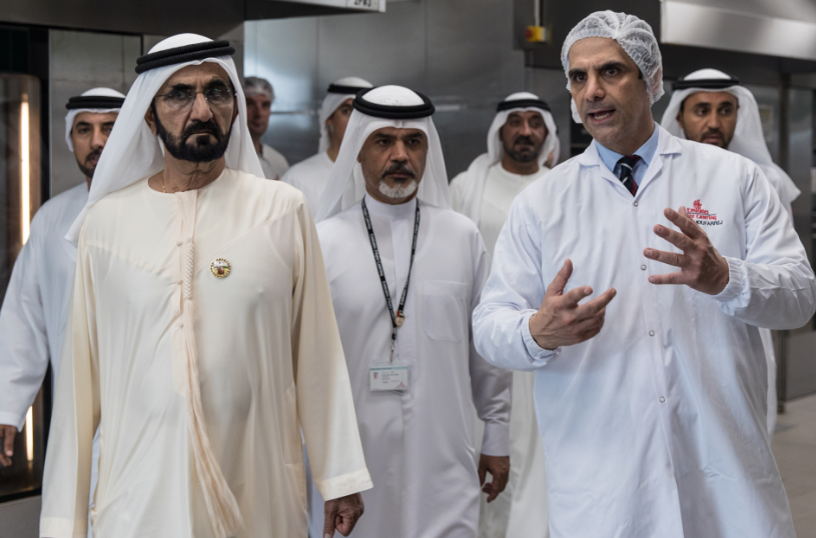 His Highness Shiekh Mohammed Bin Rashid Al Maktoum during his tour of Emirates Flight Catering