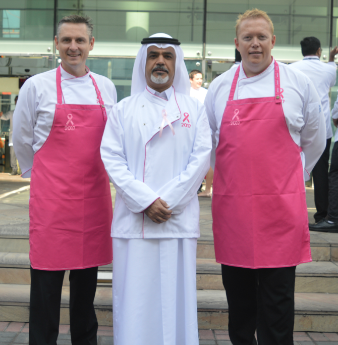 Emirates Flight Catering CEO, Saeed Mohammed with The Pink Brigade Founders; Chef Robbie Stokes and Chef Russell Impiazzi