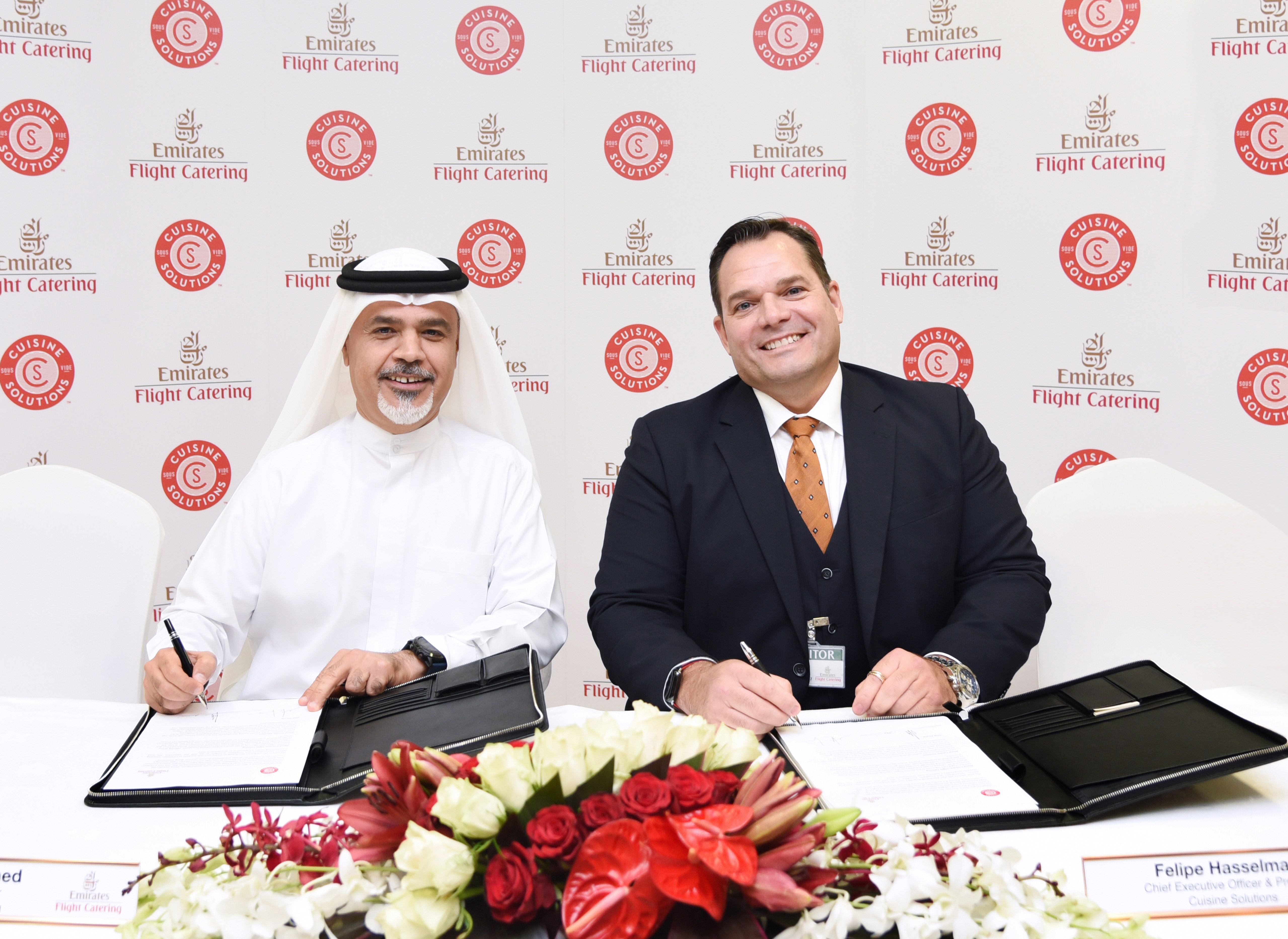 From left to right: Saeed Mohammed, Chief Executive Officer, Emirates Flight Catering and Felipe Hasselmann, President and Chief Executive Officer, Cuisine Solutions Inc.